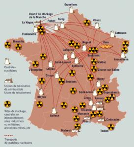La carte du nucléaire en France. Un élément à prendre en compte.